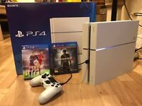 White PS4 glacier 500GB with uncharted 4 & fifa 15