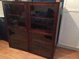 IKEA 'Borgsjo' brown wood glass-door cabinets (x2) £50 each