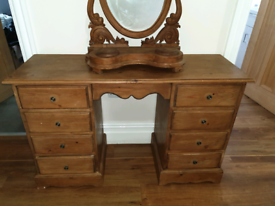 solid pine dressing table and carved mirror