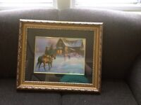 Horse Picture with Gold Frame
