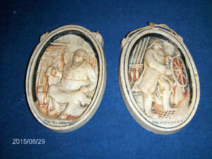 THE INNKEEPER-THE HELMSMAN-2 CHALKWARE PLAQUES-1960S