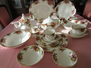 "Royal Albert Fine Bone China with Gold Trim, ""Old Country Roses"""