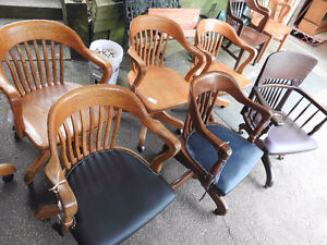 Group 1: variety of vintage  / antique office chairs, restored