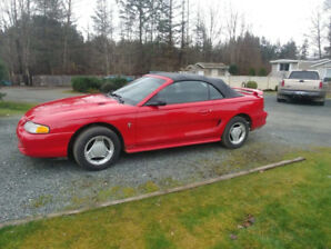 1994 Red Ford Mustang Convertible