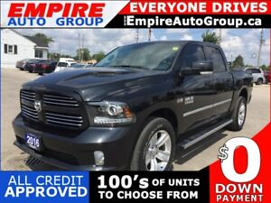2016 RAM 1500 SPORT * HEATED & COOLED SEATS * NAVIGATION * LEATH