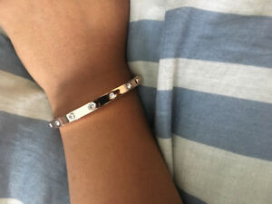 Kate spade rose gold bangle with glass