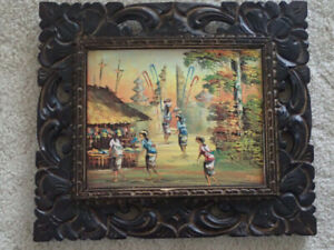 OIL PAINTING WITH HANDCRAFTED FRAMES 13X15 INCHES ,Very Nice