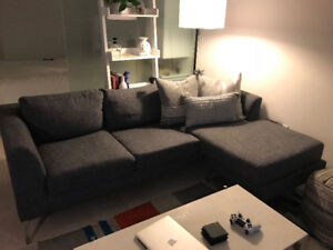 For Sale! Charcoal Grey Couch. Reversible Chaise.