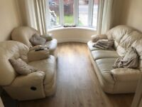 Cream Leather Sofa Plus Two Recliners