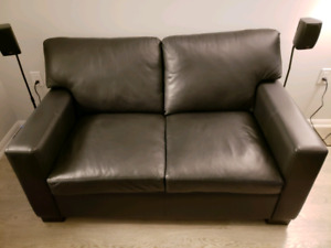 Black genuine leather 2-seat sofa and chair, $1,000 OBO