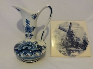 Delfs vase and windmill tile