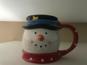 Xmas Snowman mug + penguin cookie jar, both never used