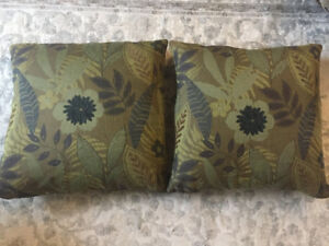 Pair of comfy feather couch pillows