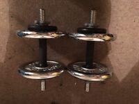 30kg cast iron dumbbell set adjustable to 2.5kg - 27.5kg dumbbells 4 x 5kg 4x 1.25kg make an offer