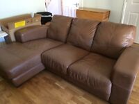 Brown leather corner sofa DFS