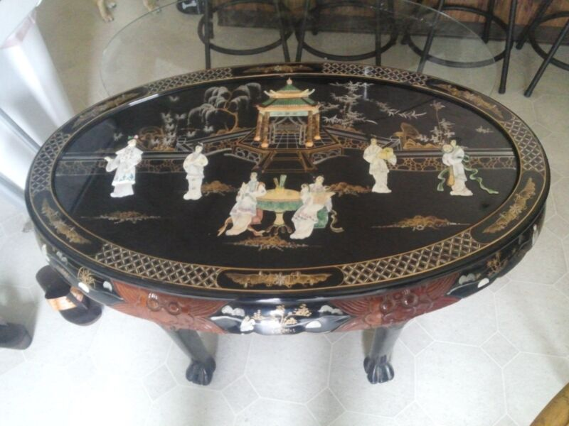 Oriental Asian Inlayed Mother Of Pearl Coffee Table With Six Stools