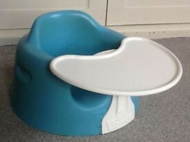 Blue bumbo baby chair with tray