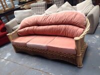 Orange wicker sofa