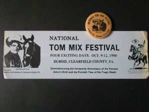National '' Tom Mix '' Festival. 1980. (Macaron & auto-collant)
