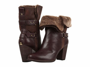 UGG Jayne Fold Over Stacked Heel Boot -Brown (Stout), size 8