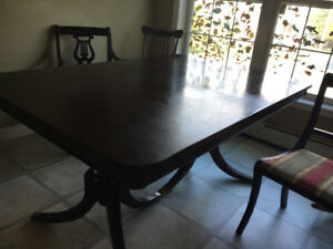 Vintage Solid Wood Dinning Table and 3 Harp Back Chairs need TLC