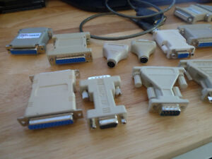 Computer Adapters USB to Serial, DVI to VGA (Male to Female) .