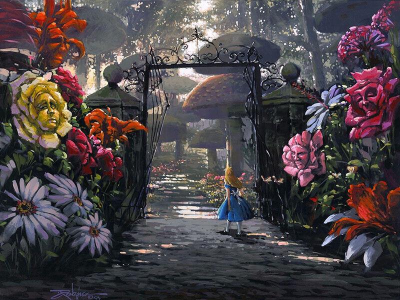Canvas Print Art Oil Painting Disney Alice In Wonderland Garden Home Room Decor Cad