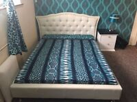 Designer Double bed with mattress with side table for sale