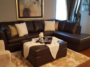 NEW-Brown Leather Sectional Sofa Set with Ottoman