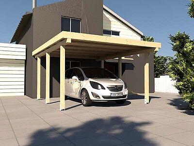 Carport Flachdach AVUS XXIII 300x500 cm Konstruktionsvollholz KVH Bausatz