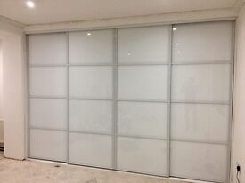 Sliding wardrobe doors. From £70. Made to measure. Mirror, coloured glass, wooden panels.