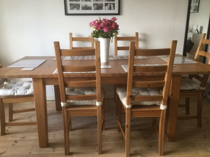 ikea stornas pine extending dining table and 6 chairs rrp 465 in fleet hampshire gumtree. Black Bedroom Furniture Sets. Home Design Ideas