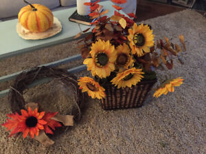 Fall Decor/wreath and sunflower basket