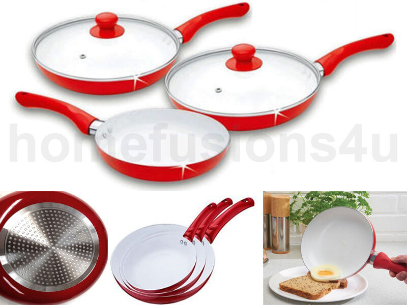 New 5 Piece Ceramic Coated Frying Pan Set Red White Non