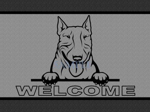Bull Terrier Dog Breed Peeking Over Welcome Home Doormat Door Mat Floor Rug