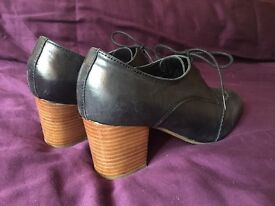 Ladies black leather brogues with heel from Office London - size 5 / 38