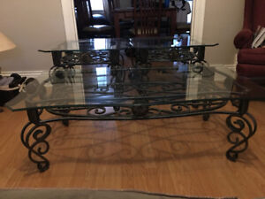 Wrought Iron and Glass Coffee and Side Tables