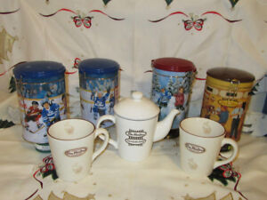 TIM HORTON'S COLLECTOR'S teapot, rare mugs (2007) and 4 Tins!!!!