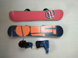 Snowboards (132 and 138 cm) and boots (size 8.5)