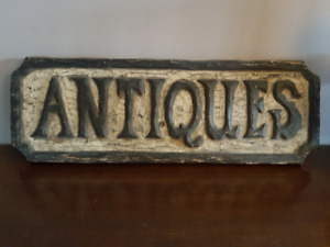 """Carved Wooden Relief """"Antiques"""" Sign"""
