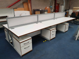 Second hand white desks with drawers, view in huge Glasgow Showroom