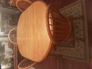 Shorewood Oak Dining Table, Chairs, China Cabinet and Hutch