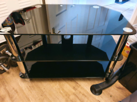Free delivery Immaculate black glass and chrome tv stand