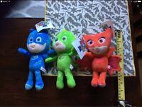 Pj masks 3 plush toys gekko cat boy owlette 20cm each price is £15 for all 3 unwanted gift