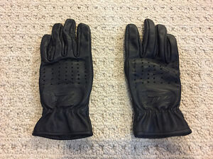 Women's black leather motorcycle gloves Size-M