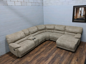(Free Delivery) - Cow-hide modular U-shaped Sectional Sofa