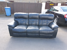 Black leather 3 seater fully reclining sofa