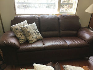 Brown Leather Like New Sofa and Love Seat