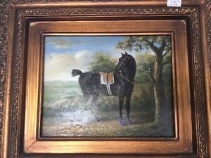 Original horse oil painting with papers
