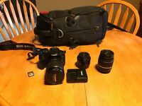 Canon XSI including 3 lenses and camera bag